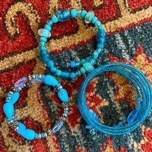 Set of Blue Beaded Bracelets